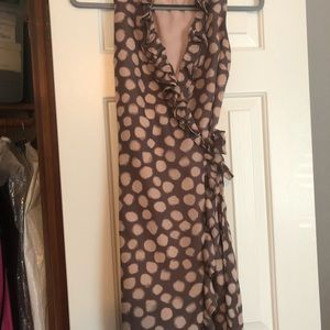 Taupe and blush polka dot loft dress size 0 petite